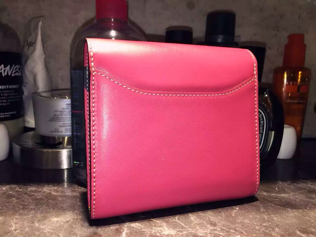 14cm Hermes Silk'in Short Constance Wallet Swift Leather Fuchsia Pink Purse