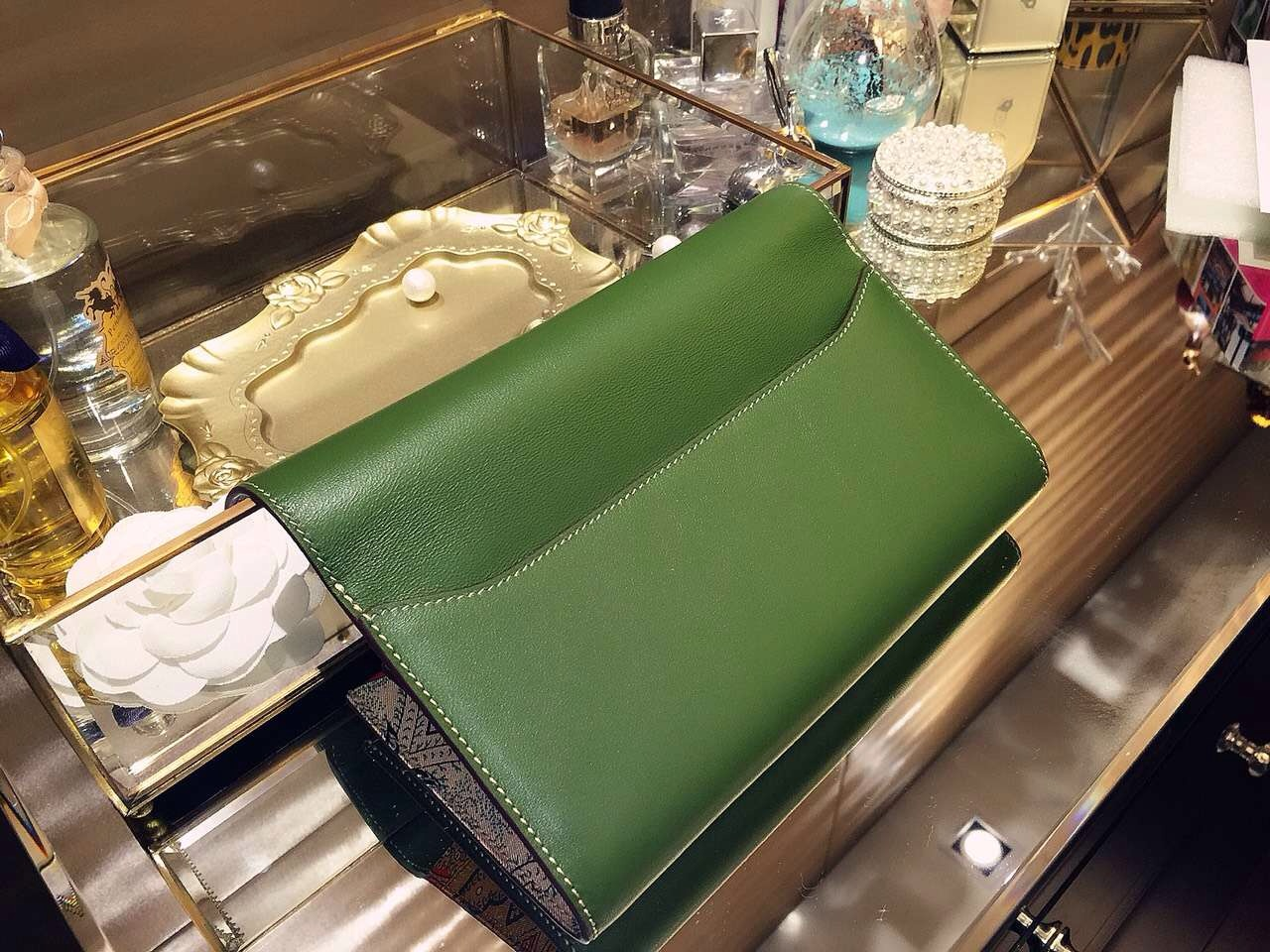 Discount Hermes Silk'in Constance Long Wallet V6 Olive Green Swift Leather 21CM