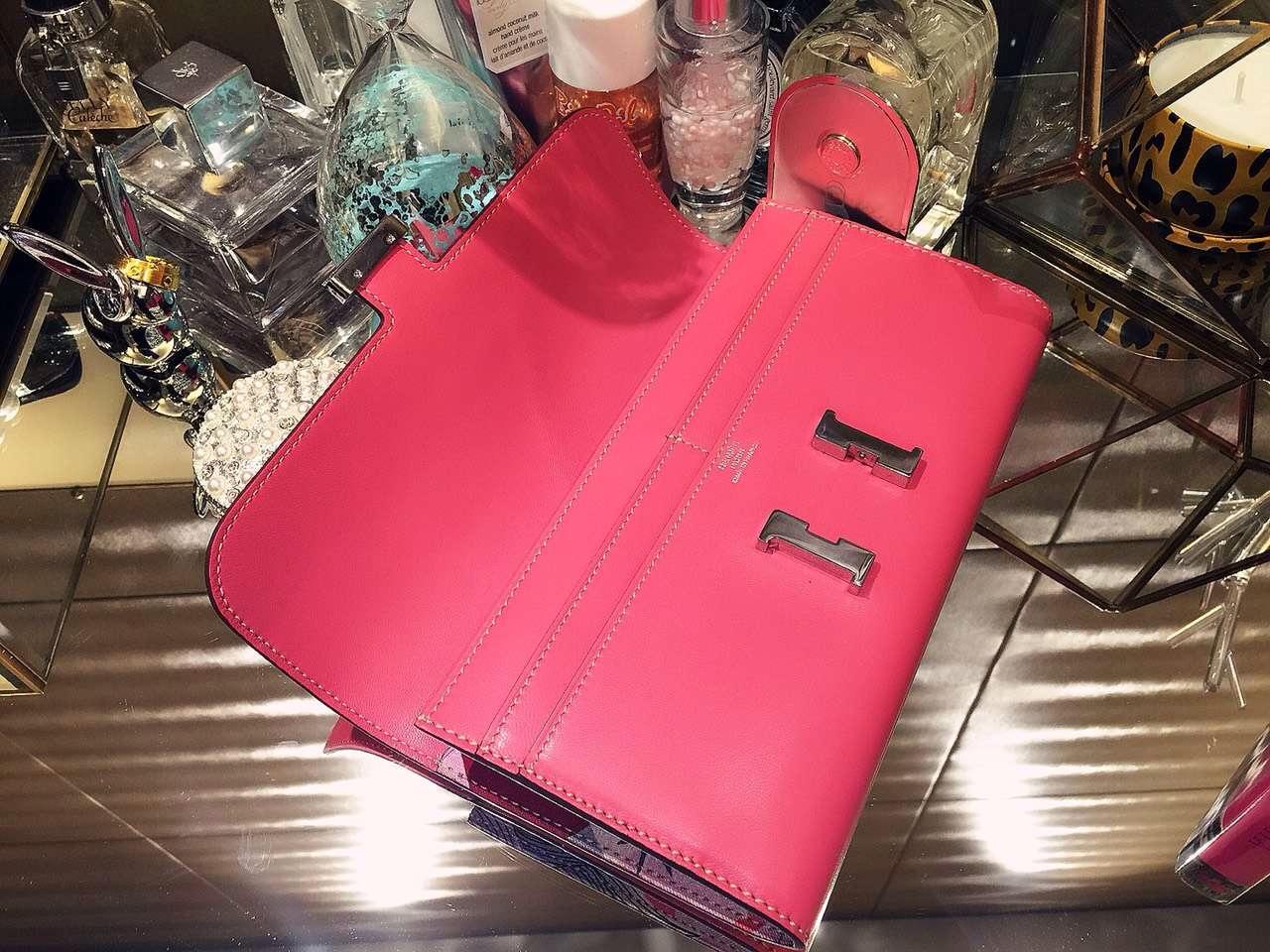 21CM Hermes Silk'in  Constance Long Wallet Fuchsia Pink Swift leather Clutch Bag