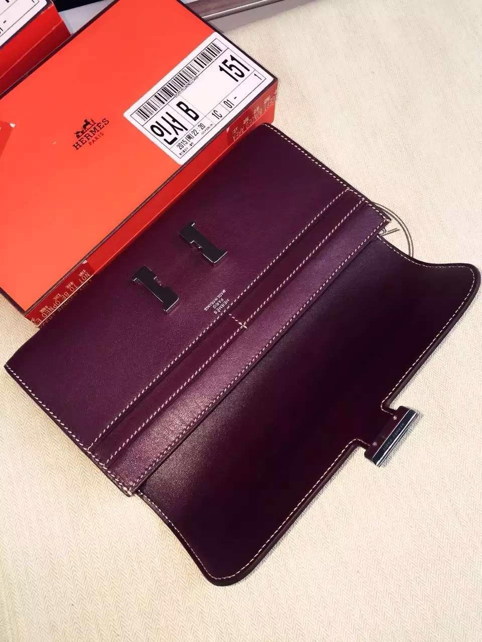 21CM Hermes Bordeaux Swift Leather Constance Women's Long Wallet Clutch Handbag