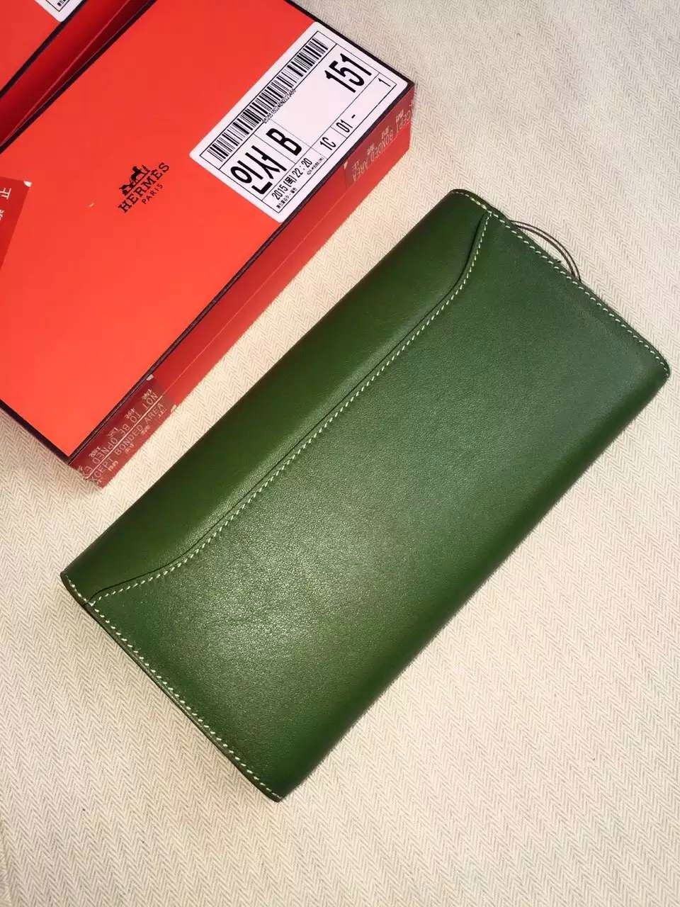 Cheap Hermes Swift Leather Constance Long Wallet Clutch Bag in V6 Olive Green 21CM