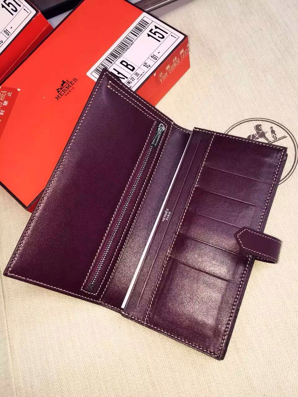 Hand Stitching Hermes Swift Leather Bean Wallet Long Purse in CK57 Bordeaux 19CM