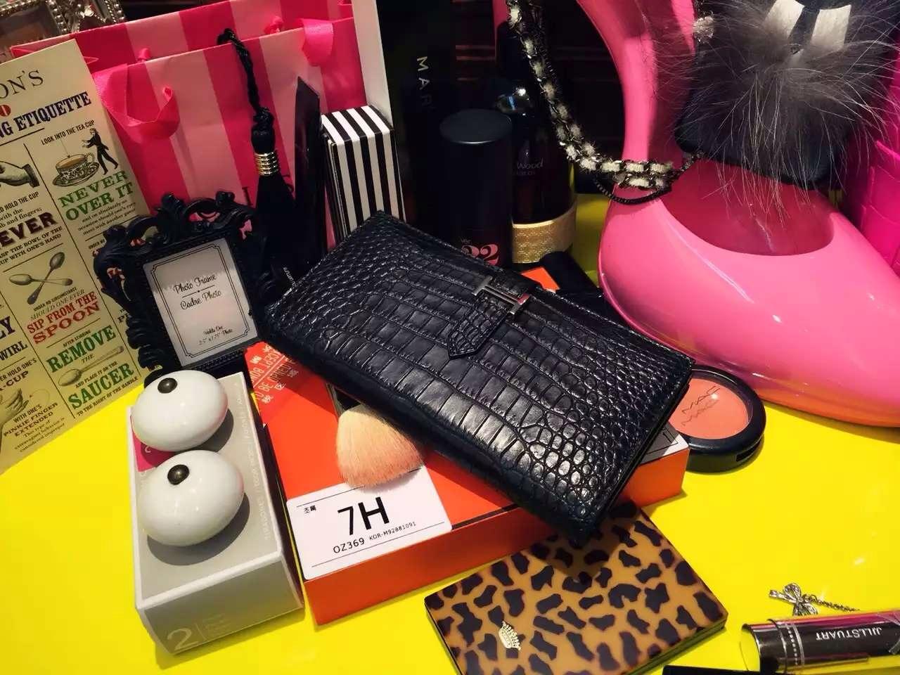 19CM Hermes CK89 Black Crocodile Leather Bean Wallet Women's Long Wallet Purse