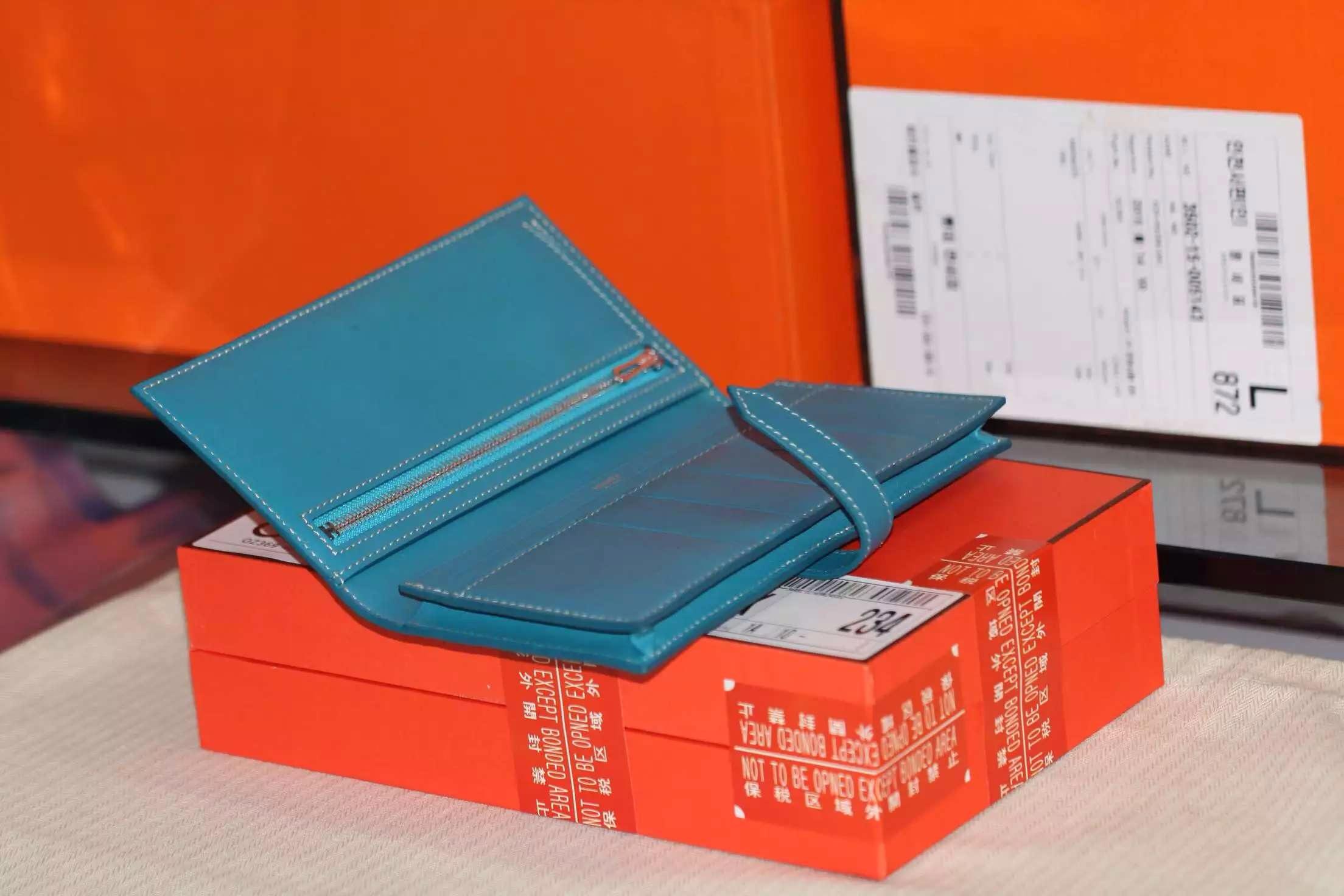 Hermes 7L Blue De Maite Swift Leather Bean Wallet Women's Long Purse 19CM