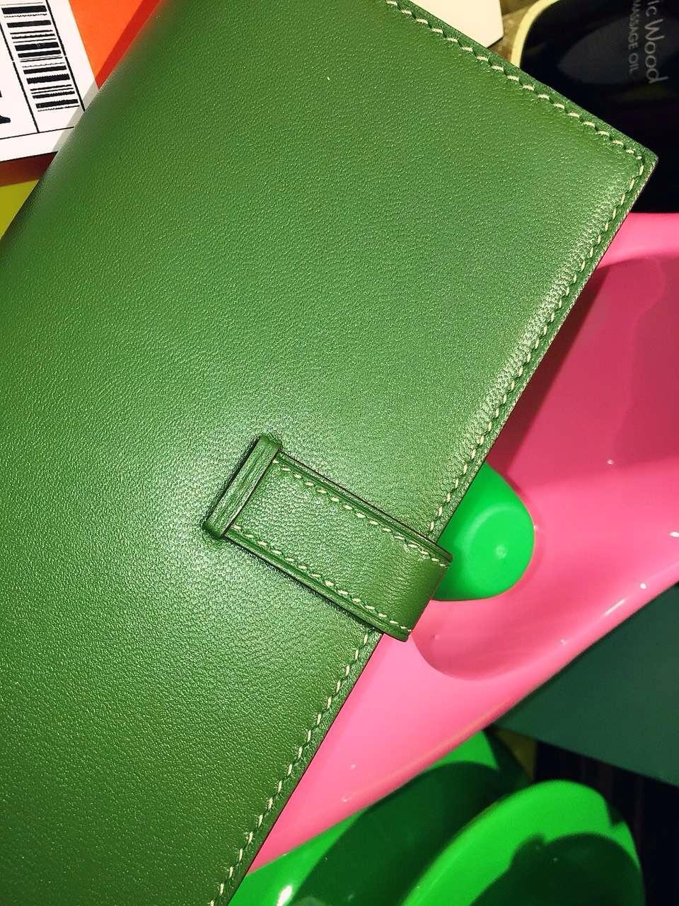 Cheap Hermes Silk'in Bean Wallet Swift leather V6 Olive Green 19CM