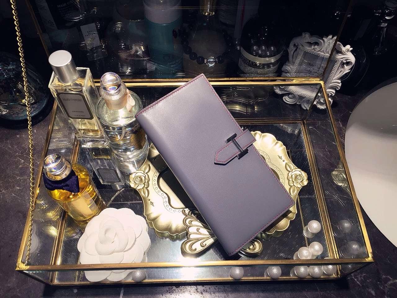 19CM Hermes Silk'in CK18 Etoupe Grey Swift Leather Women's Long Wallet Purse