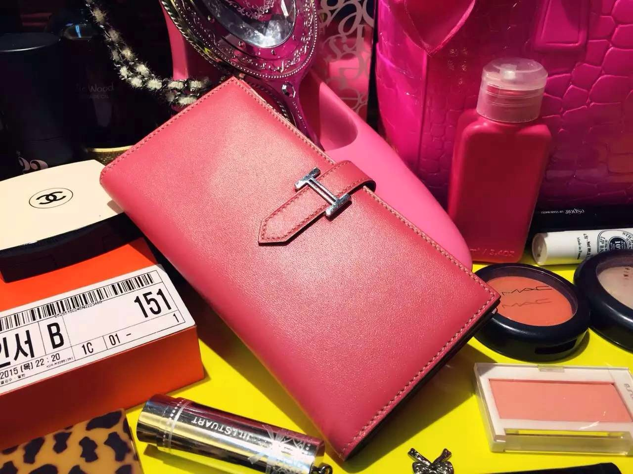 Discount Hermes Silk'in Series Bean Wallet Fuchsia Pink Swift Leather 19CM
