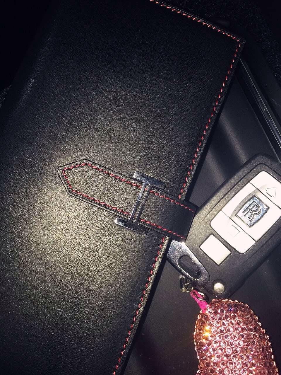 Hand Stitching Hermes CK89 Black Swift Leather Silk'in Bean Wallet 19CM