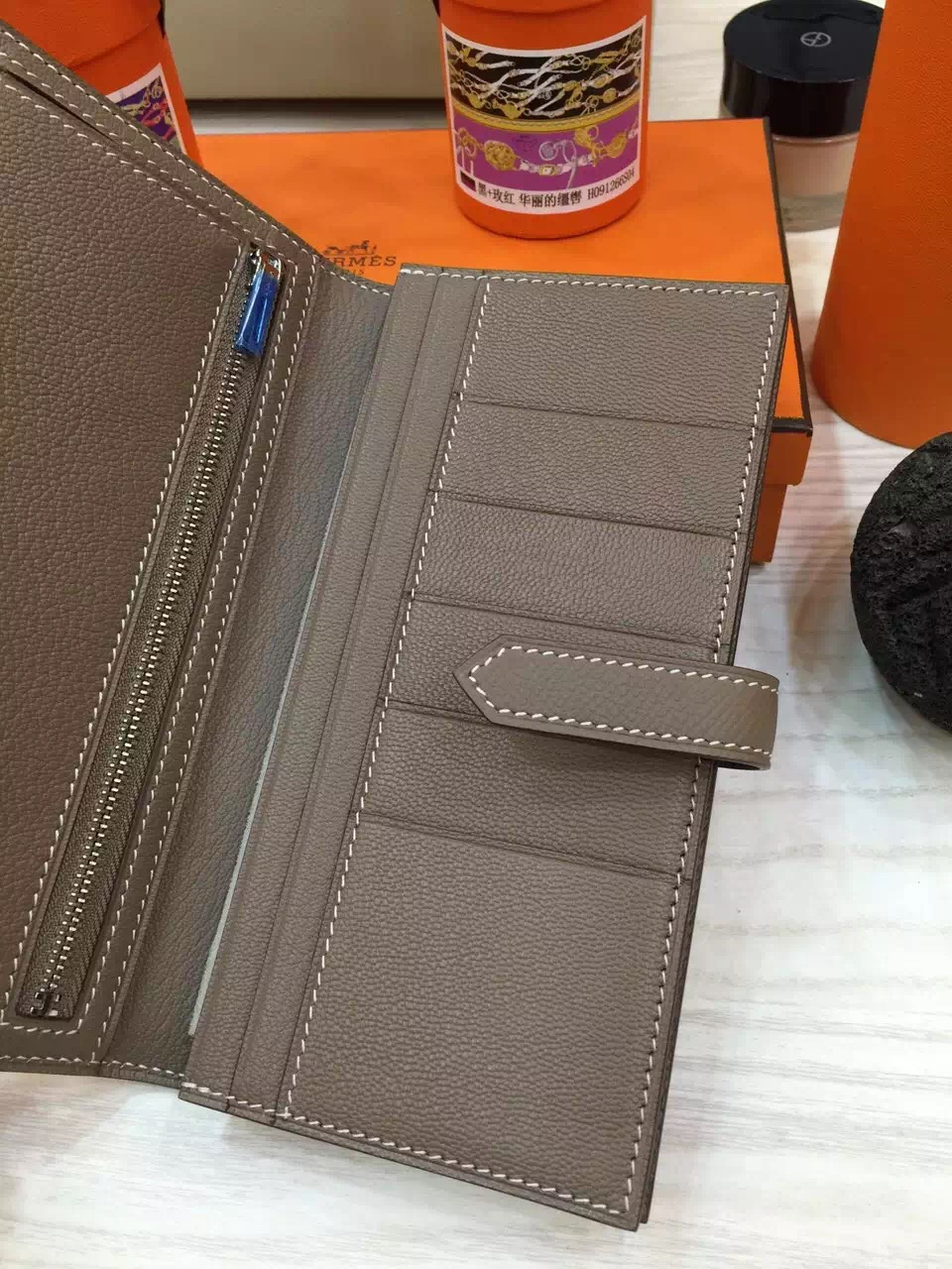 Hand Stitching Hermes Etoupe Grey Epsom Leather Bearn Wallet Clutch Bag Silver Hardware