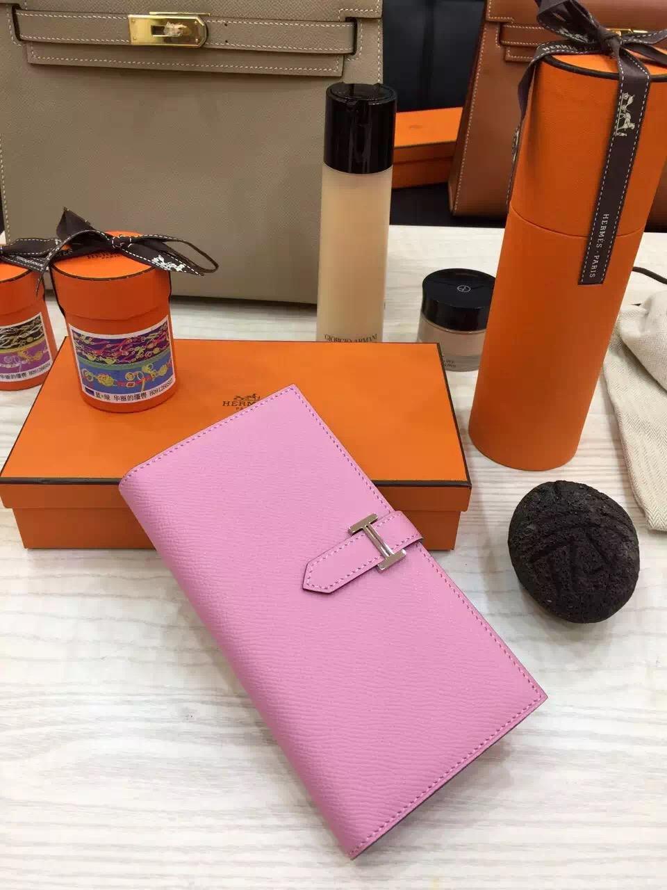 Pretty Hermes Original Epsom Leather Bearn Wallet Purse in Rose Sakura