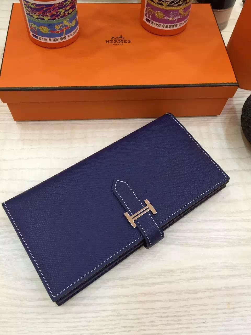 Custom-Made Hermes Blue Electric Epsom Leather Bearn Wallet Long Purse Women's Clutch