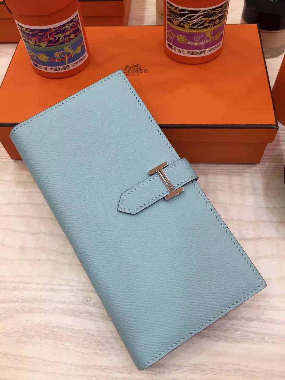 Hand Stitching Hermes Epsom Leather Bearn Wallet Clutch Bag in Lagon Blue