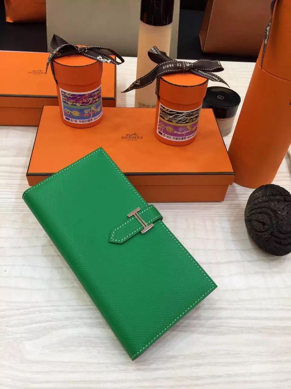 Luxury Hermes Bearn Wallet Long Purse Bamboo Green Epsom Leather Ladies' Clutch