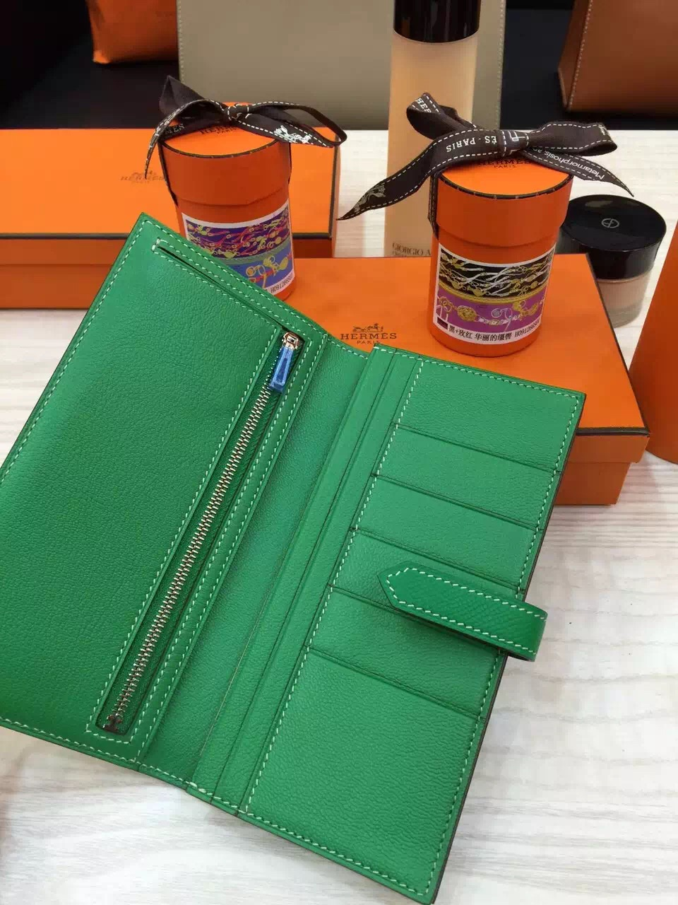 Luxury Hermes Bearn Wallet Long Purse Bamboo Green Epsom Leather Ladies' Clutch