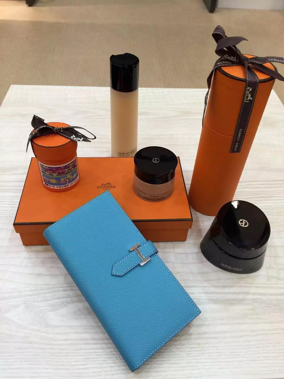 Hermes Vip Customize Epsom Leather Bearn Wallet Women's Clutch Bag Multi-color