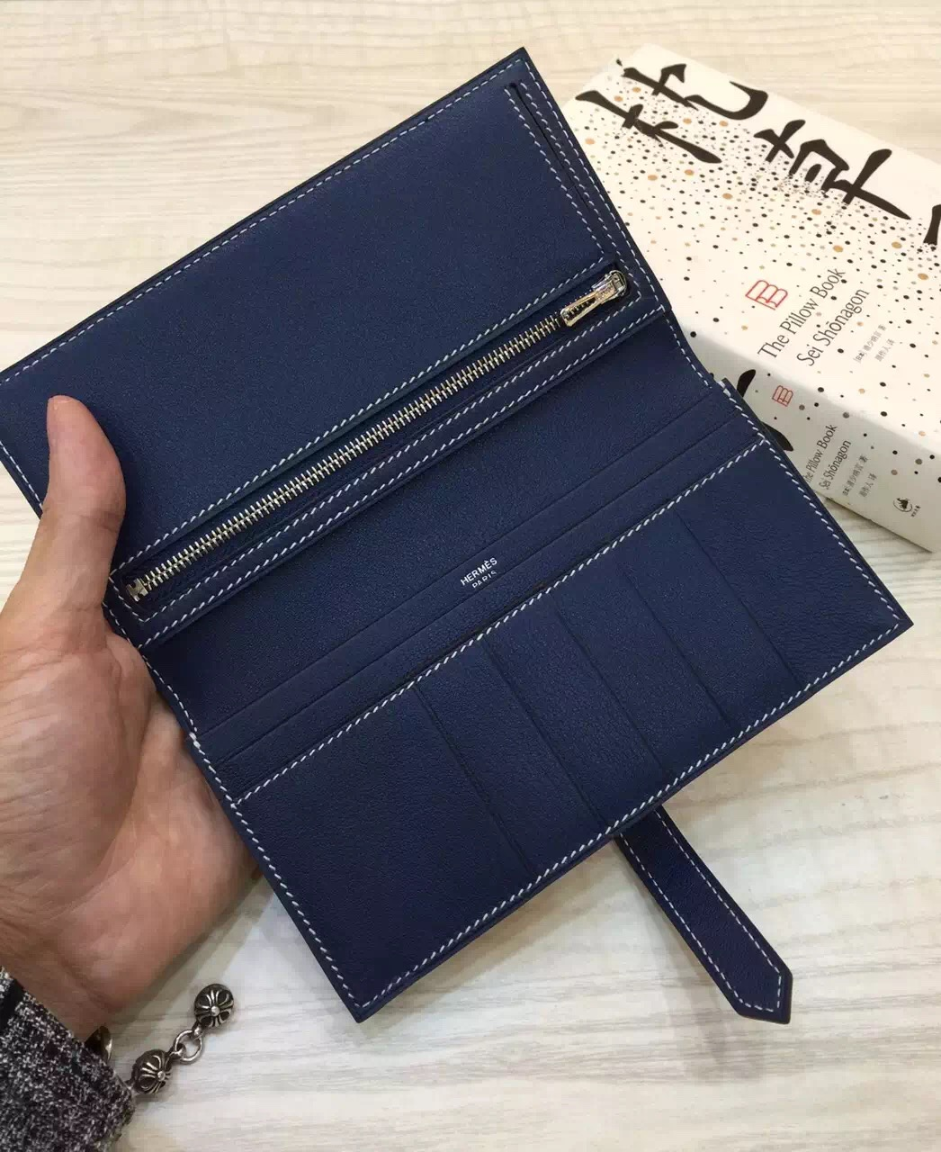 Hand Stitching Hermes 7A Royal Blue Swift Leather Bearn Wallet Long Purse