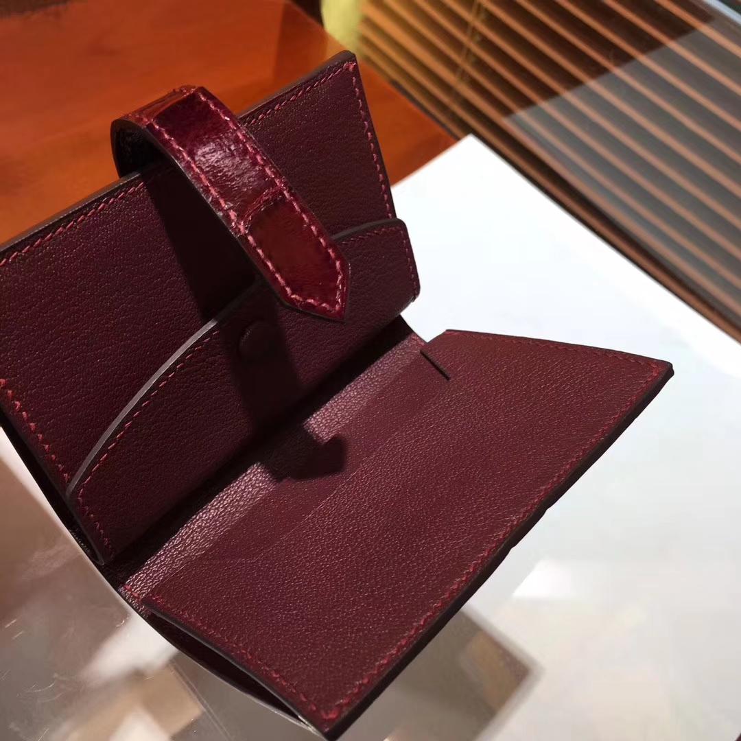 Luxury Hermes Crocodile Shiny Leather Bearn Wallet Purse in Wine Red