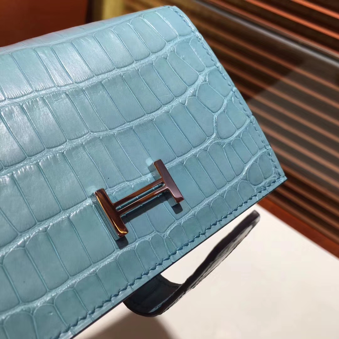 Discount Hermes Blue Crocodile Matt Leather H Buckle Bearn Wallet