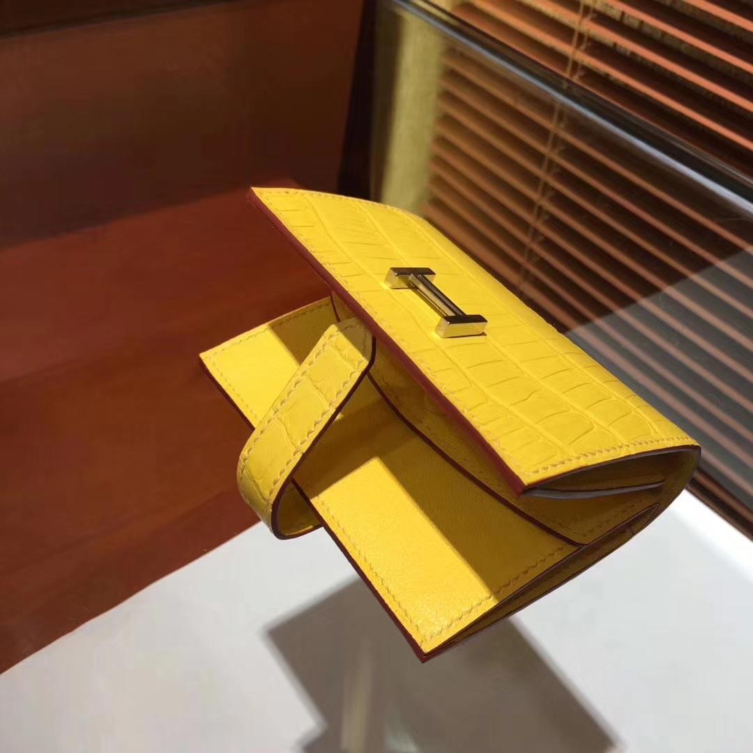 Pretty Hermes Yellow Crocodile Matt Leather H Buckle Bearn Wallet Purse