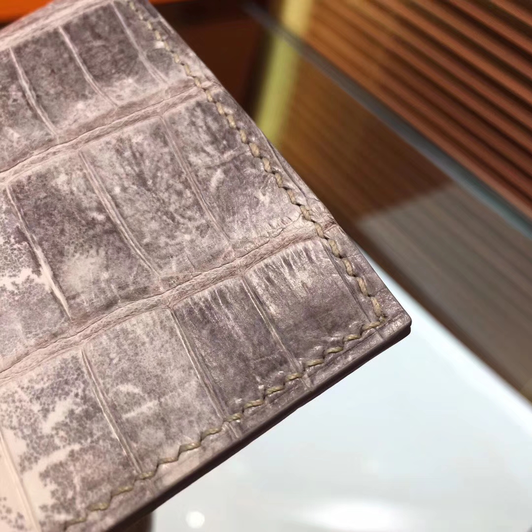 Wholesale Hermes Himalaya Crocodile Leather H Buckle Bearn Wallet