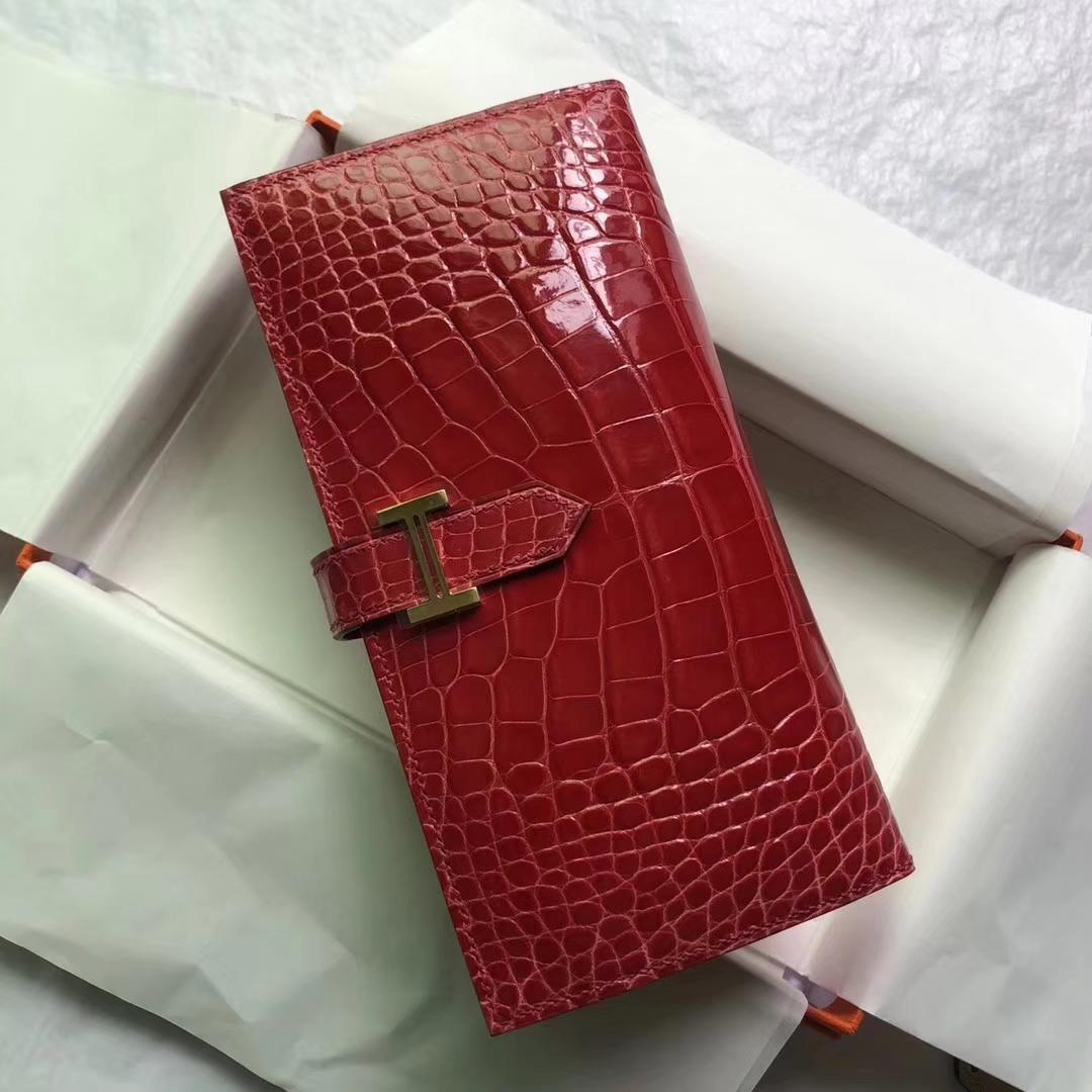 Elegant Hermes A5 Bougainvillier Red Shiny Crocodile Leather Bean Long Wallet