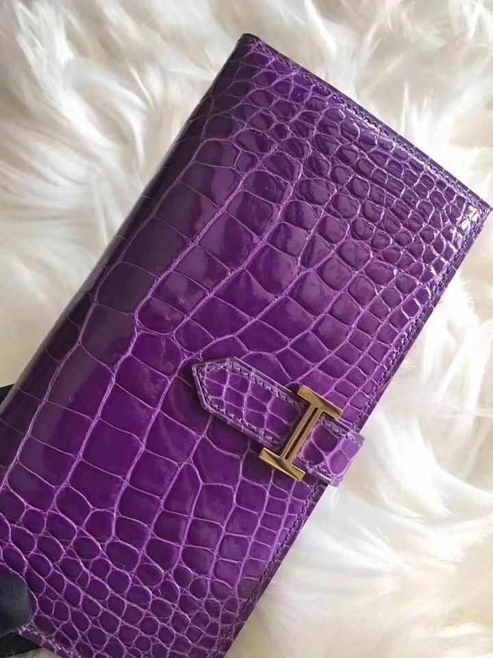 Discount Hermes Purple Shiny Crocodile Bean Wallet Clutch Bag Gold Hardware