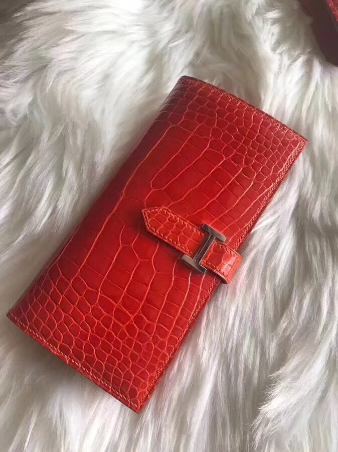 Wholesale Hermes Red Shiny Crocodile Leather Bean Wallet Long Purse