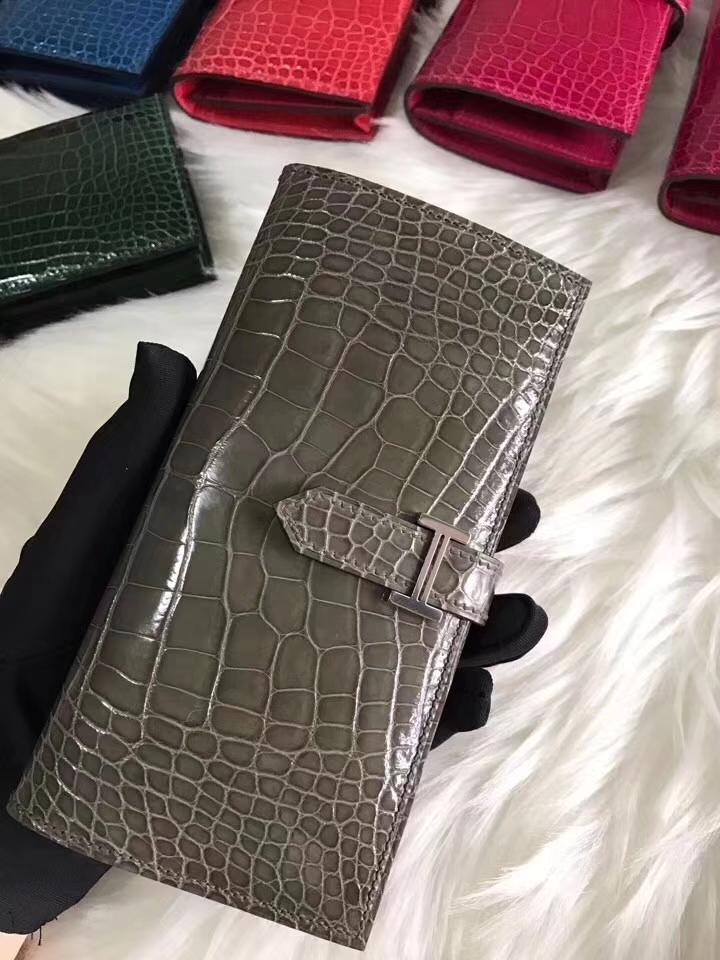 Sale Hermes Grey Shiny Crocodile Bearn Wallet Long Purse Silver Hardware