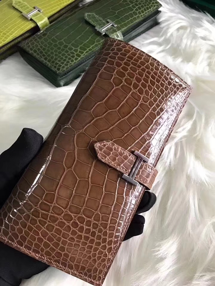 Wholesale Hermes Brown Shiny Crocodile Bean Wallet Clutch Bag Silver Hardware