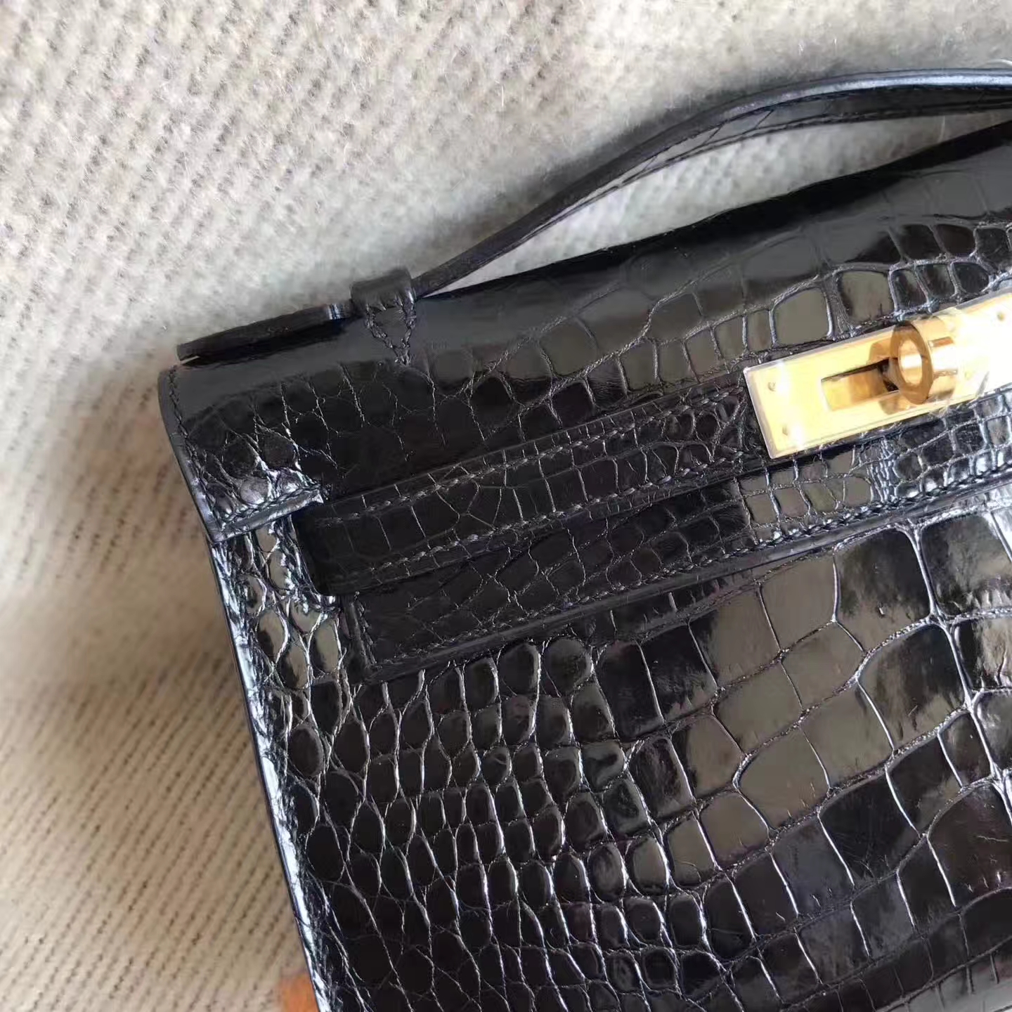 Wholesale Hermes Minikelly Clutch Bag in CK89 Black Shiny Alligator Crocodile