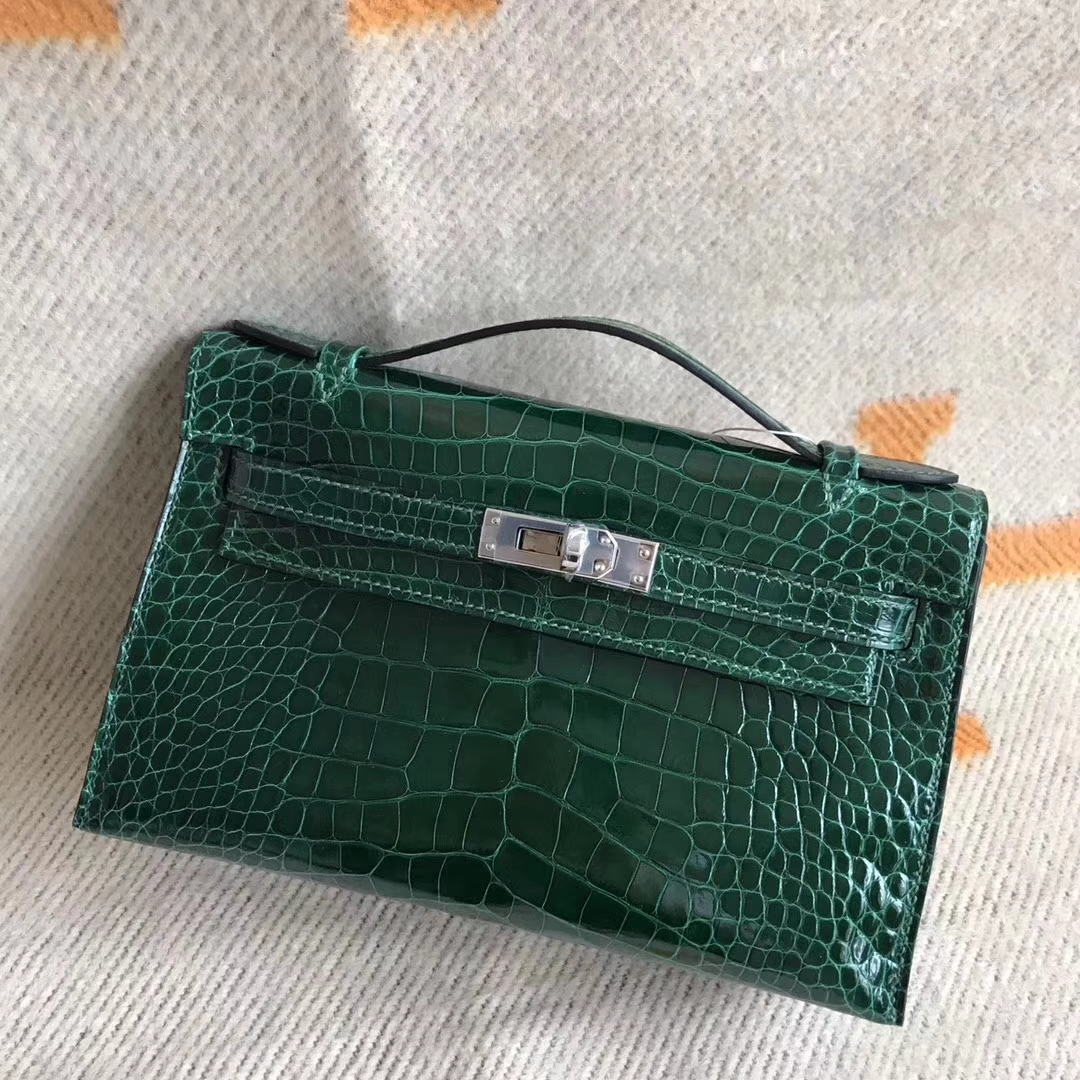Discount Hermes CK67 Vert Fonce Alligator Shiny Minikelly22CM Silver Hardware