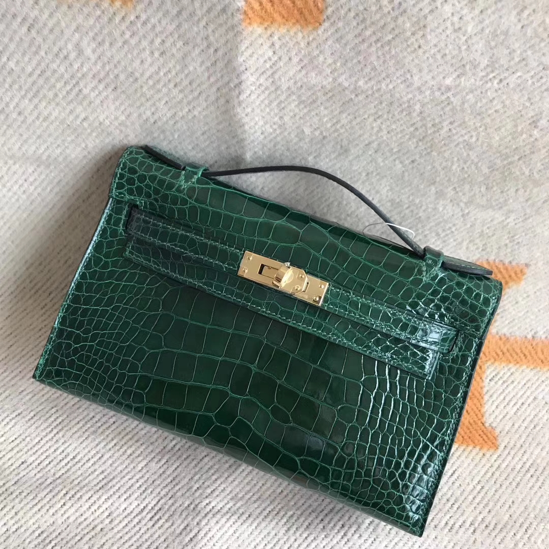 Luxury Hermes Minikelly Clutch Bag22CM CK67 Vert Fonce Alligator Shiny Crocodile