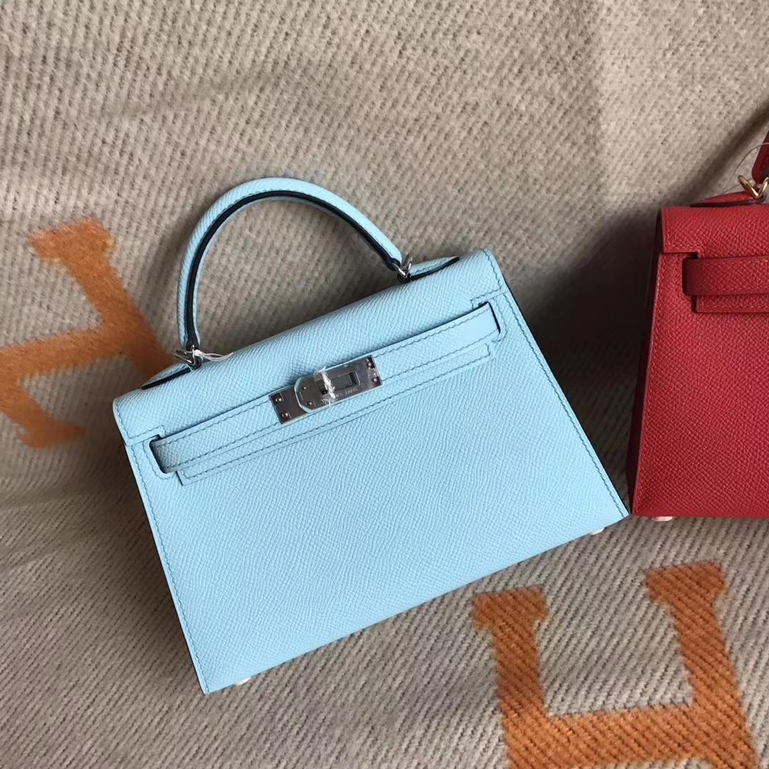 Discount Hermes Blue Zephyr Blue Zephyr Minikelly-2 Clutch Bag