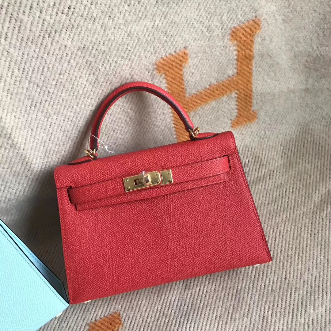 New Arrival Hermes Minikelly-2 Clutch Bag in Tomato Red Epsom Calfskin