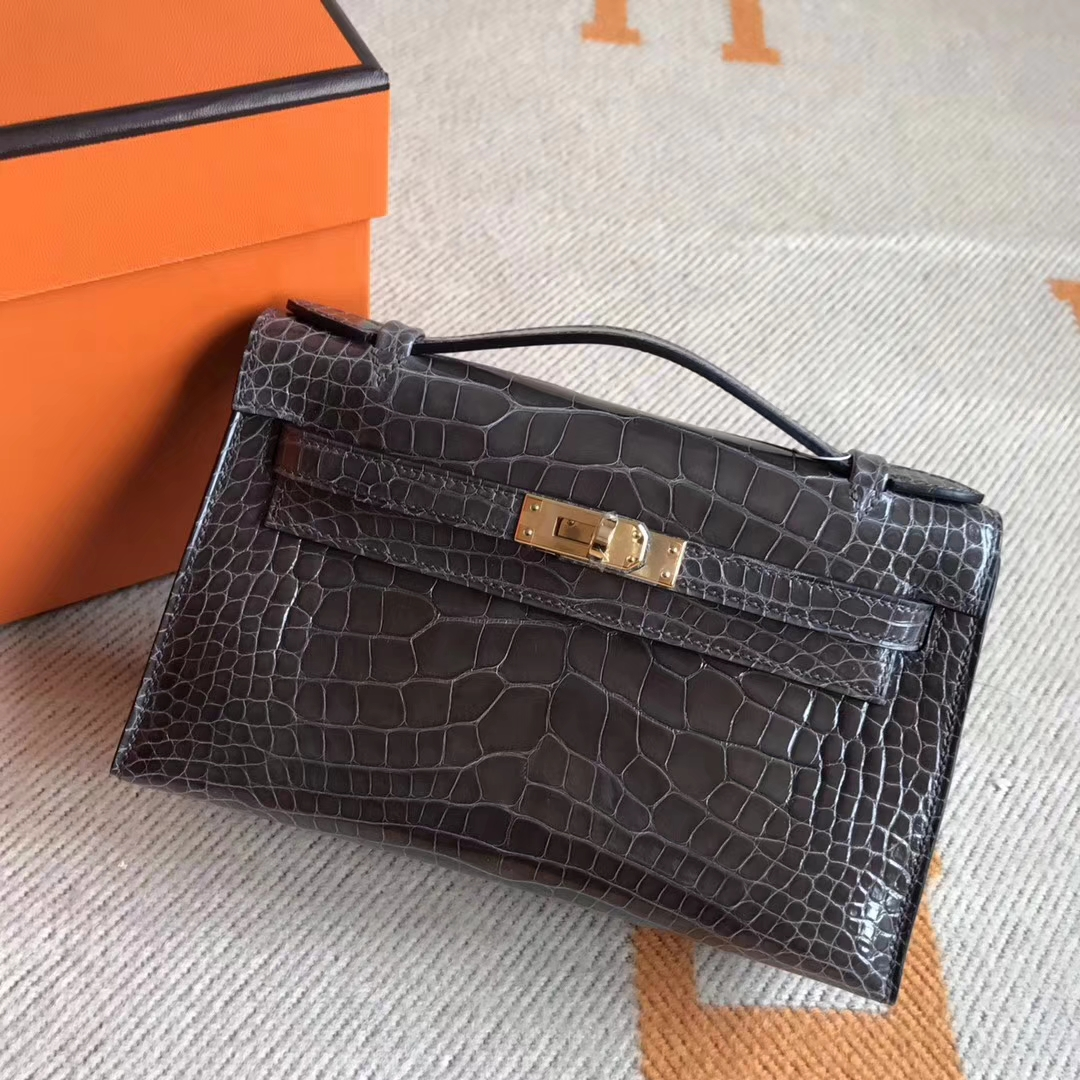 Hermes New Color Crocodile Leather Minikelly Pochette 22CM Clutch Bag