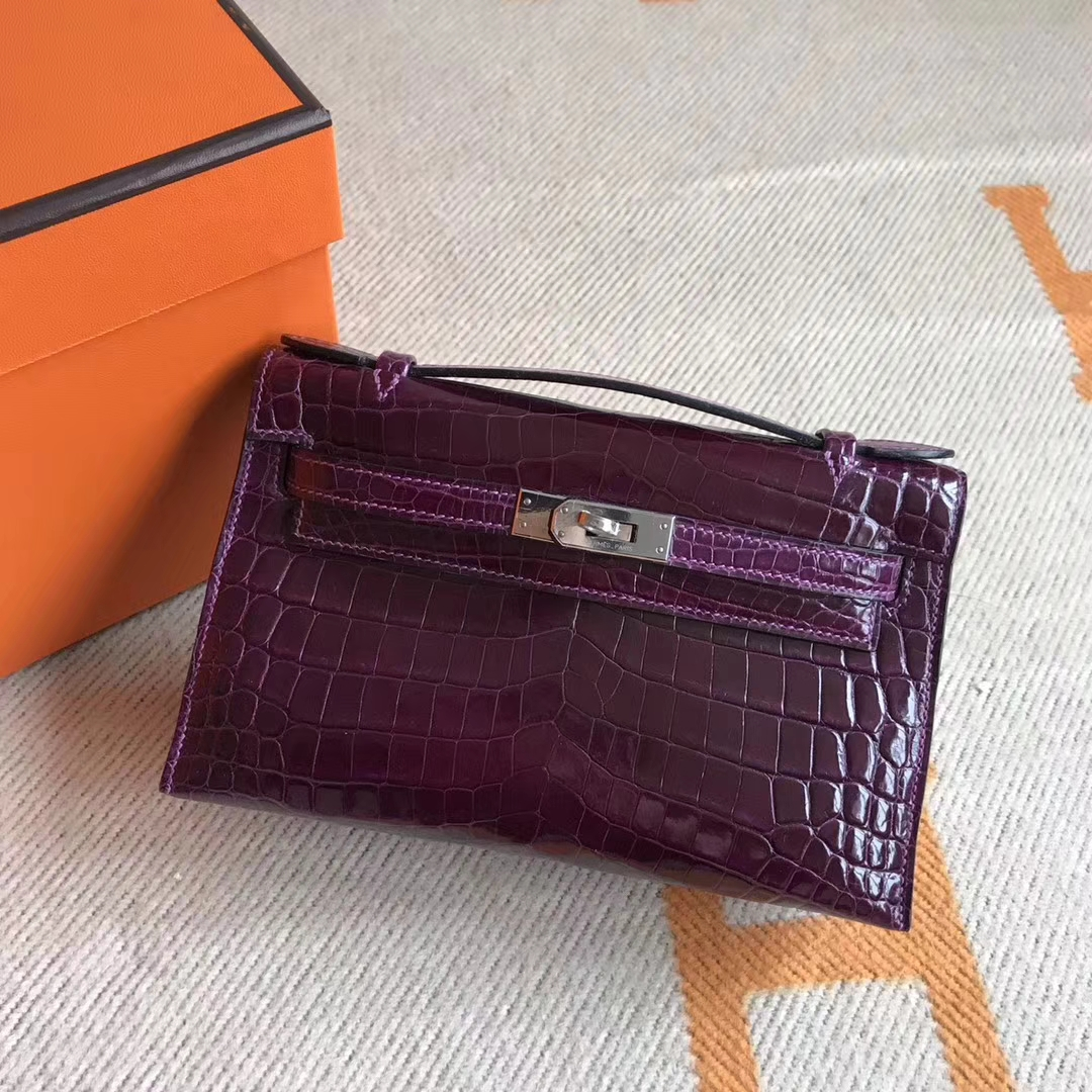 Wholesale Hermes Minikelly Clutch Bag22CM Crocodile Leather Silver Hardware