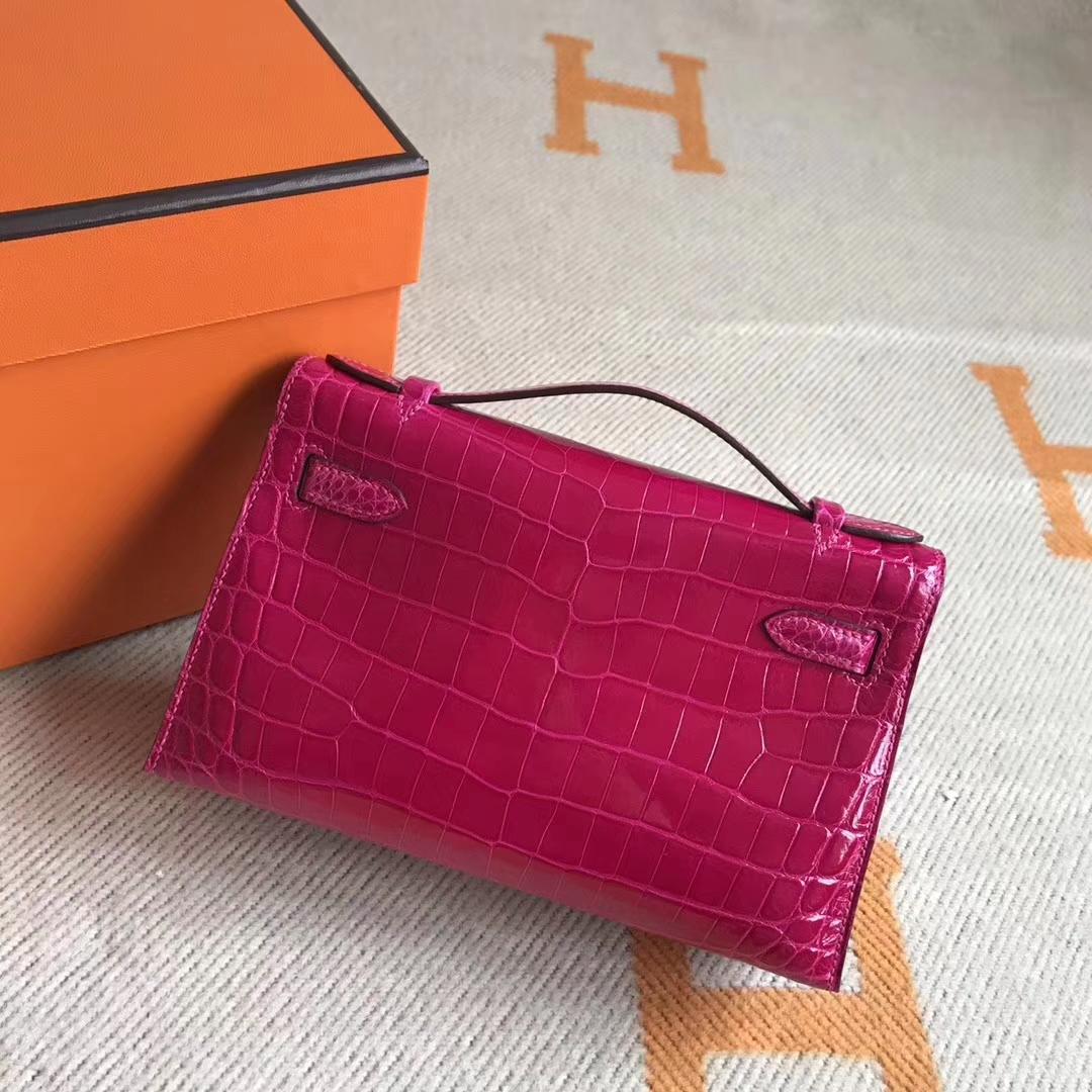Beautiful Hermes Crocodile Leather Minikelly Pochette Clutch Evening Bag22cm