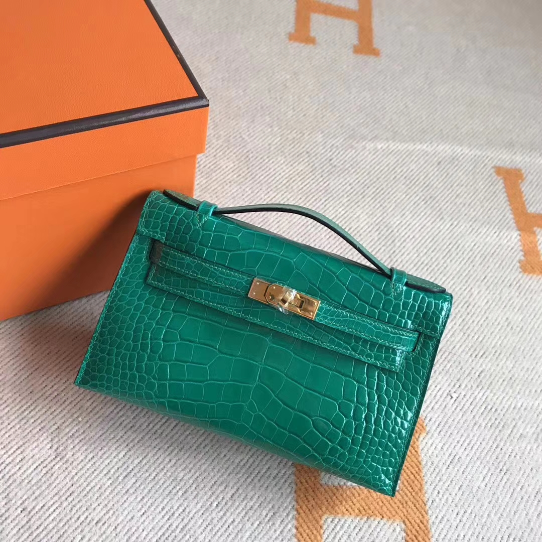 Discount Hermes Crocodile Leather Minikelly Pochette Clutch Bag22CM