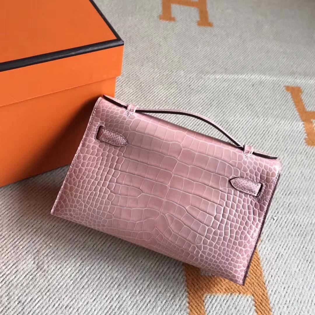 Fashion Hermes Crocodile Leather Minikelly Pochette Clutch Bag22CM