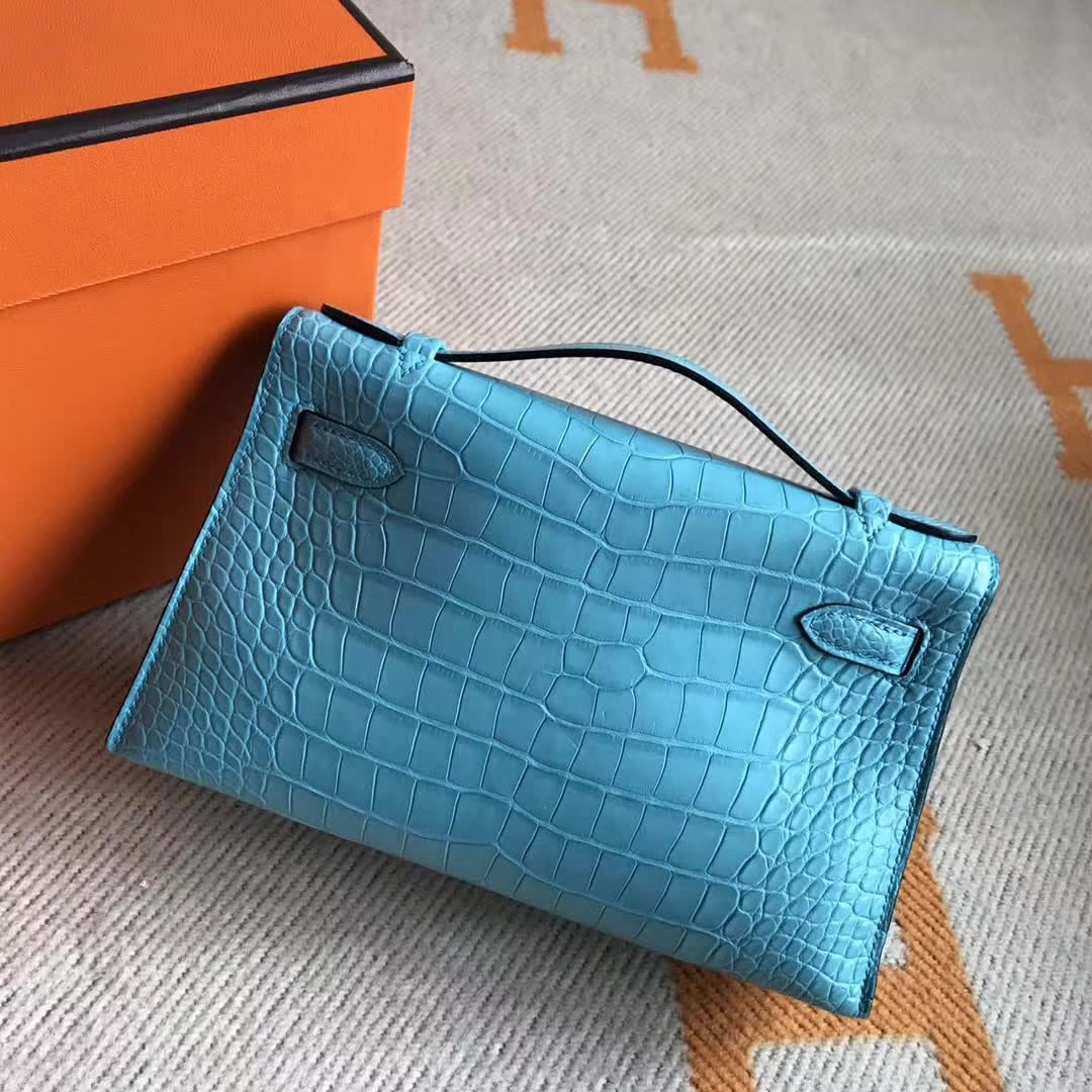Noble Hermes Evening Clutch Bag 3Z Blue Saint-cyr Crocodile Matt Minikelly22CM