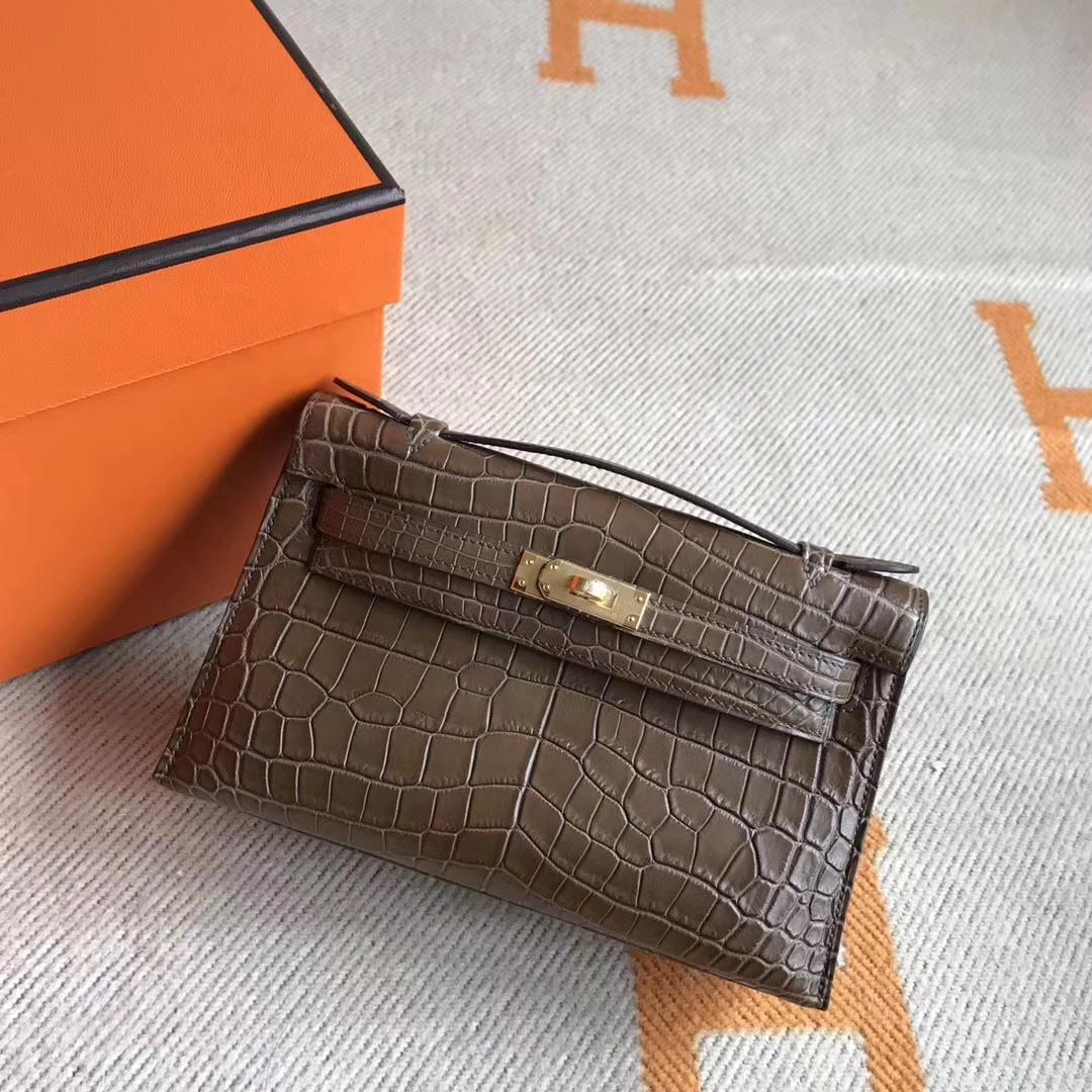 Elegant Hermes Crocodile Leather Minikelly Pochette Clutch Bag22CM