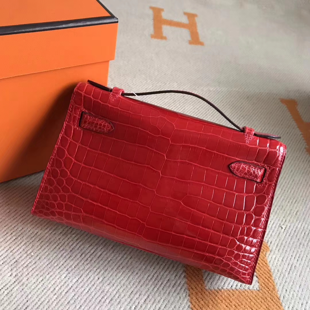 New Arrival Hermes Crocodile Leather Minikelly Pochette 22CM Gold Hardware
