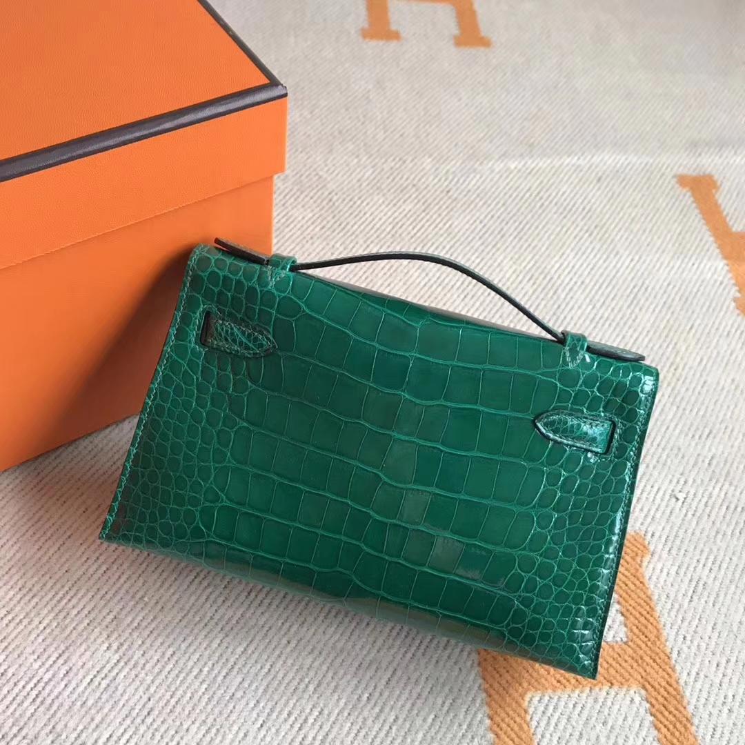 Luxury Hermes Crocodile Leather Minikelly Pochette Clutch Bag22CM