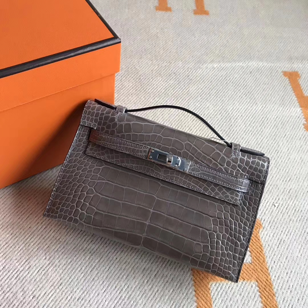 On Sale Hermes Crocodile Leather Minikelly Pochette Clutch Bag22CM