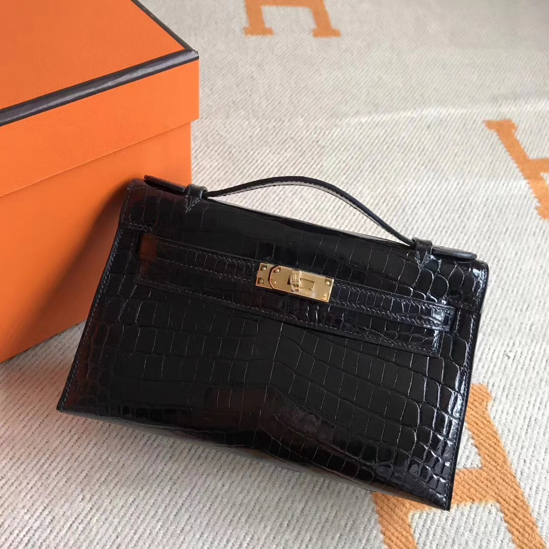 Discount Hermes Minikelly Pochette Clutch Bag in Crocodile Leather Gold Hardware