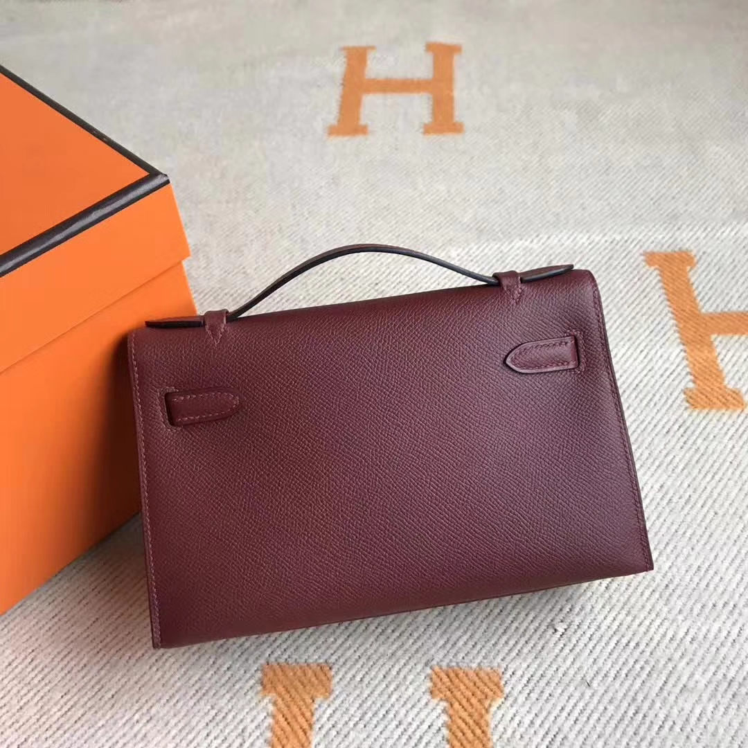 New Hermes CK55 Rouge Hermes Epsom Calfskin Minikelly Clutch Bag22CM