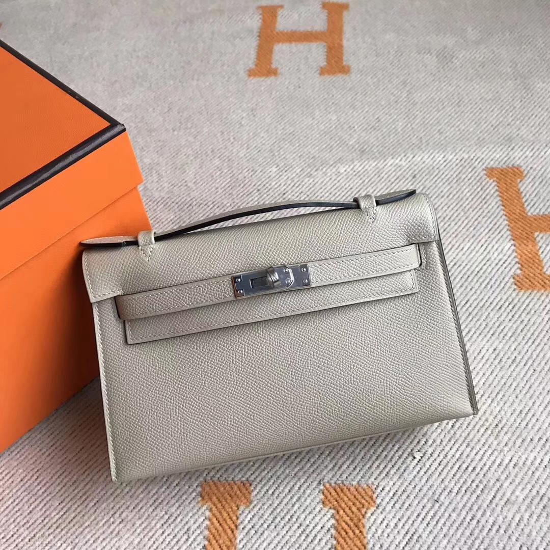 Discount Hermes Epsom Calfskin Minikelly Pochette 22CM in S2 Trench Grey