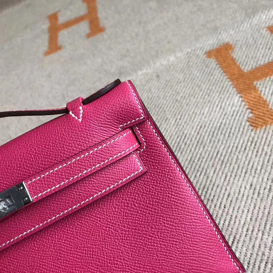 Hermes E5 Rose Tyrien Epsom Calfskin Minikelly22CM Clutch Silver Hardware