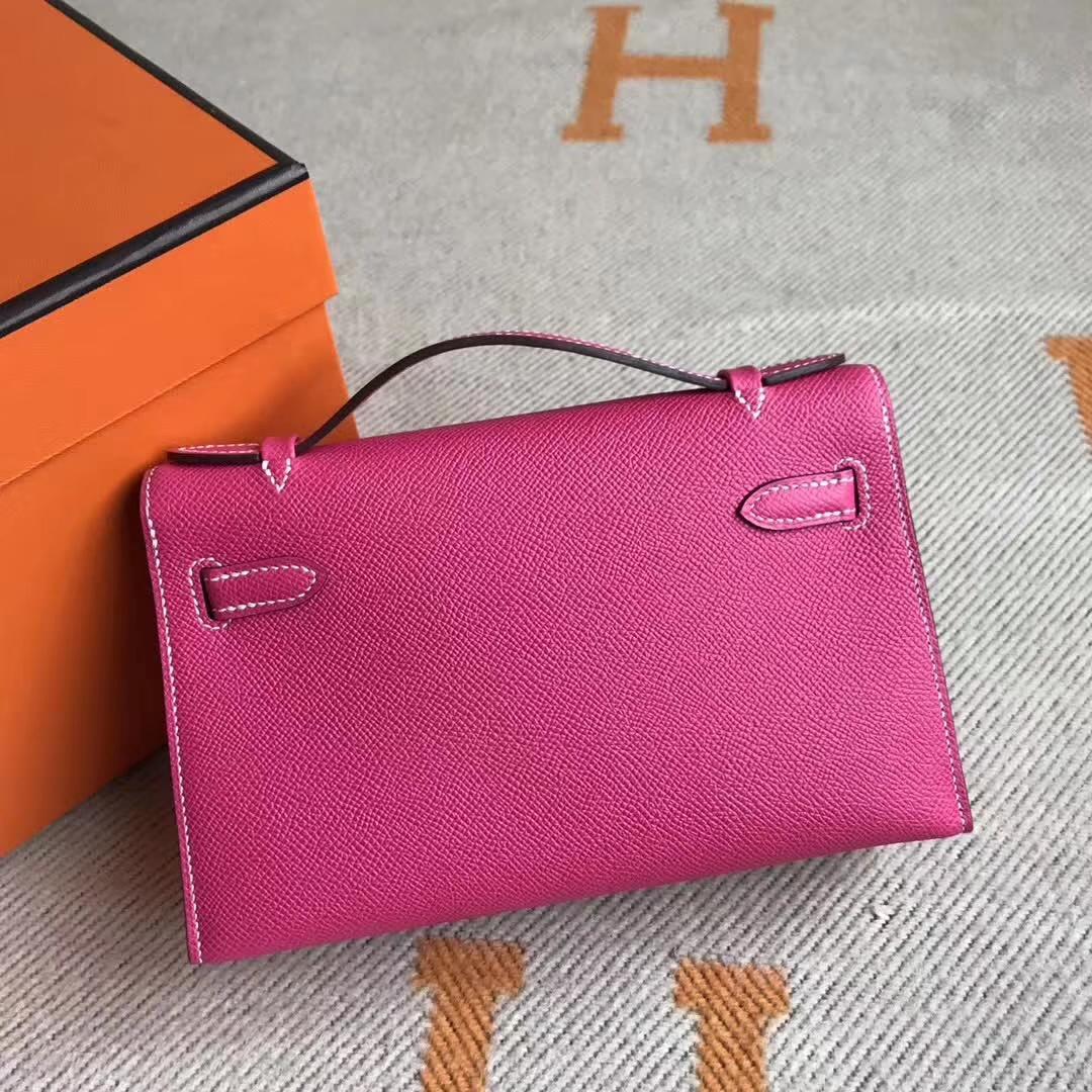 Pretty Hermes Minikelly Pochette 22CM E5 Rose Tyrien Epsom Leather Gold Hardware