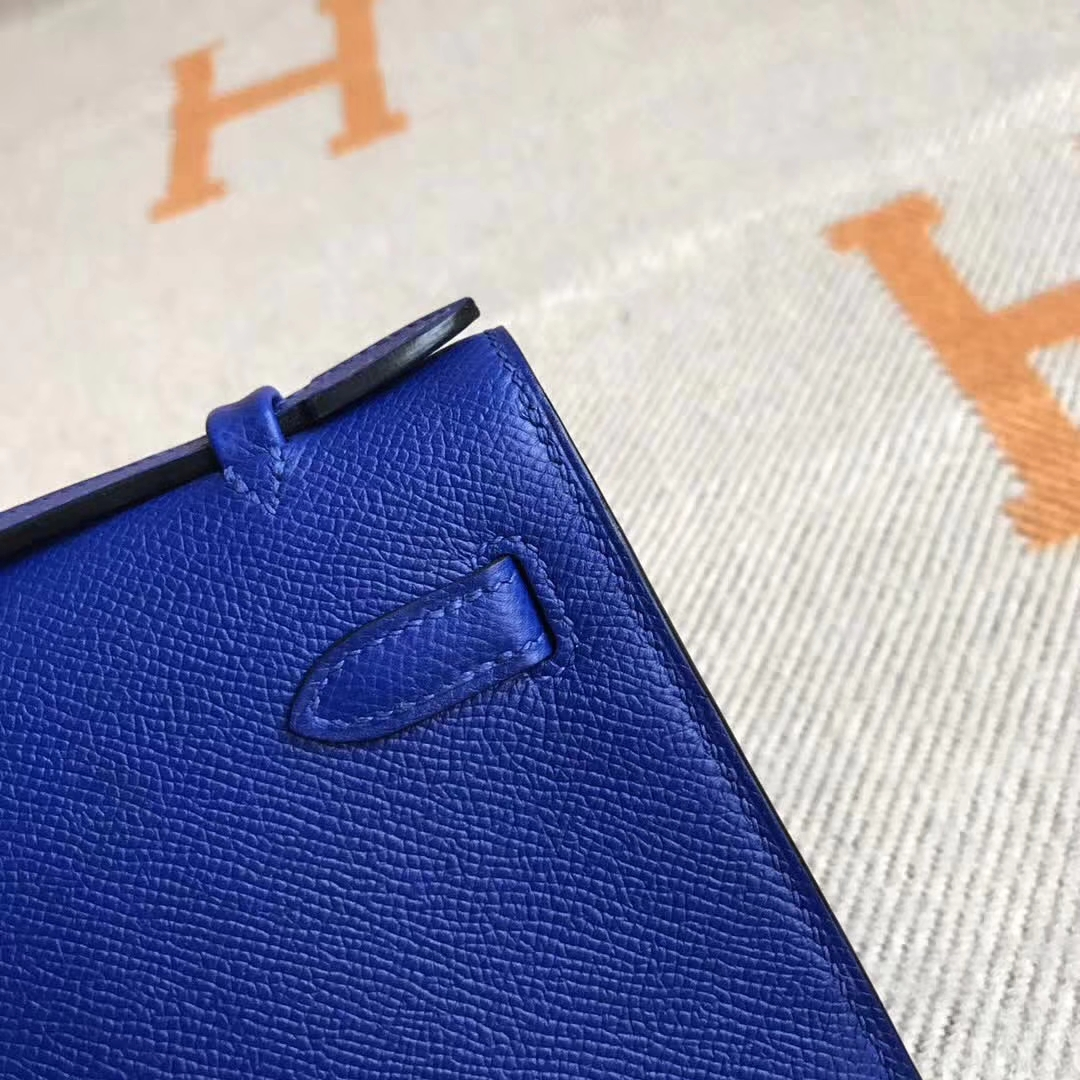 Wholesale Hermes Epsom Calfskin Minikelly Clutch Bag 22CM in 7T Blue Electric